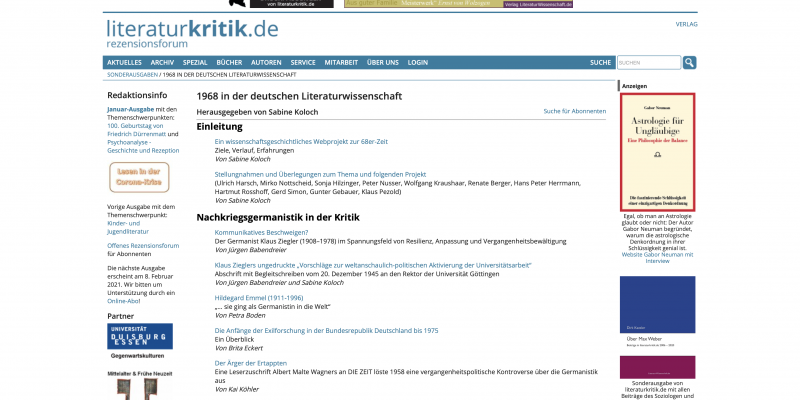1968 in der deutschen Literaturwissenschaft