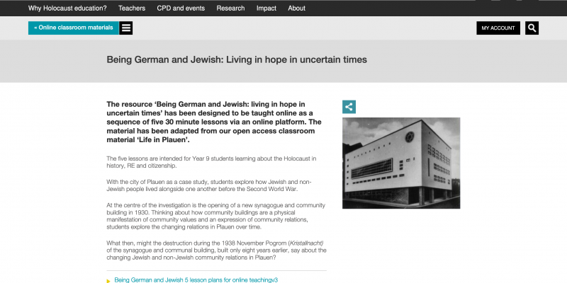 Screenshot_2020-07-27 Being German and Jewish Living in hope in uncertain times - Centre for Holocaust Education