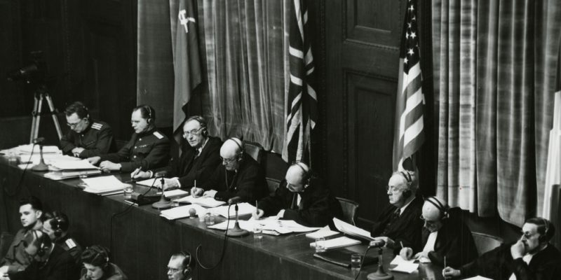 View_of_judges_panel_during_testimony_Nuremberg_Trials_1945